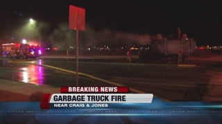 Garbage truck catches fire Friday morning