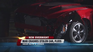Man crashes stolen car, flees near Jones, Alta