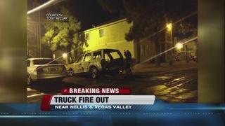 Truck fire near Nellis, Vegas Valley suspicious