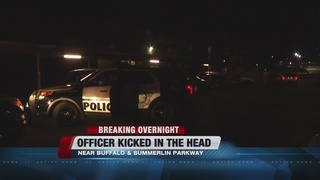 Officer kicked in head during arrest of suspect