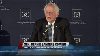 Sanders speaking at Bonanza High School Sunday