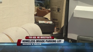 Business parking lot turned into homeless camp