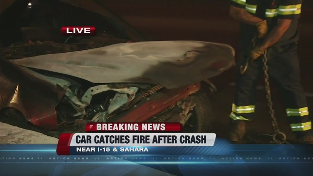 Fiery crash on I-15