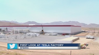 Tesla gave a first look of its new factory outside of sparks tuesday
