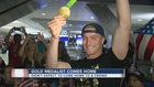 Vegas gold medalist greeted by fans at airport