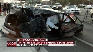 Speeding car crashes near Blue Diamond, Arville