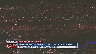 Paper threat delays flight at McCarran Airport