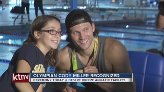Olympic medalist Cody Miller honored in Vegas