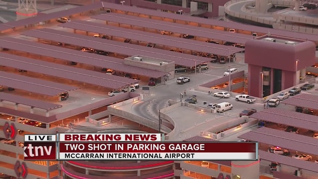2 wounded, man held after Vegas airport parking lot shooting