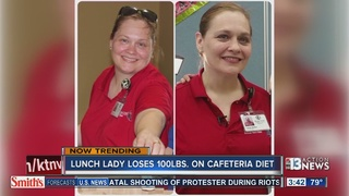 Lunch lady loses 100 pounds by eating own food