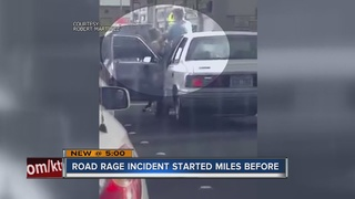 Video shows two in armed road rage brawl