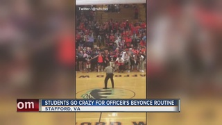 Officer performs Beyonce routine for students