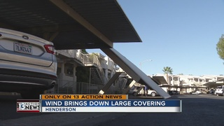 Wind brings down large covering in Henderson