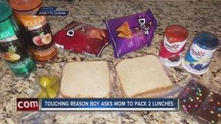 Mom packs lunch for son's classmate
