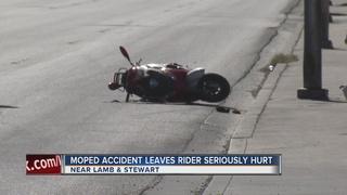 Moped rider seriously injured in crash