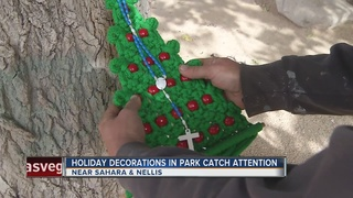 Christmas decorations by homeless upset others