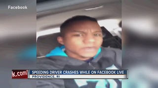 Man crashes while streaming drive on Facebook