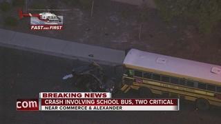 2 critical in crash involving school bus in NLV