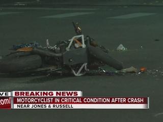 Motorcyclist injured in crash near Jones, Russel