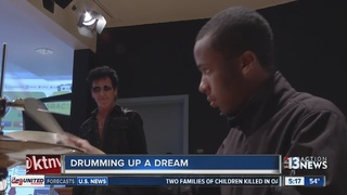 Local performer gives drums to young musician