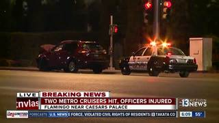 2 LVMPD officers injured in crash near Caesars