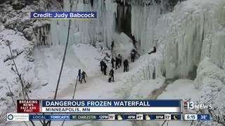 Video shows frozen waterfall crashing down