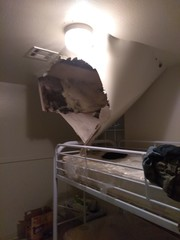Part of ceiling nearly falls on 10-year-old