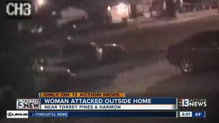 Three men attack woman in front of home