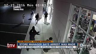 Yamaha store manager says arrest made in theft