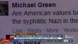 UNLV professor on watchlist after Trump comments