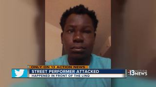 Street performer attacked on Las Vegas Strip
