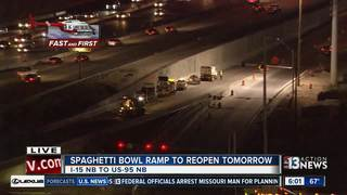 Spaghetti Bowl ramp to reopen Wednesday