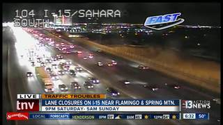 Lane closures on northbound I-15 this weekend