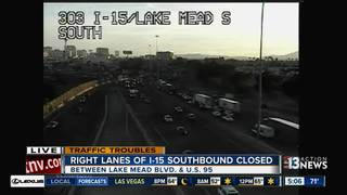 Right lanes of southbound I-15 to be closed