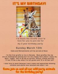 Ozzie the Giraffe celebrating 3rd birthday