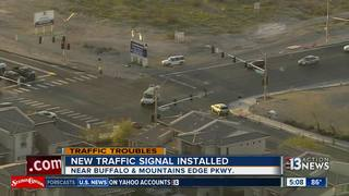 Traffic signal in Mountain's Edge switched on