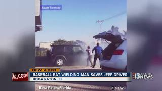 Bat-wielding man helps rescue driver in Florida
