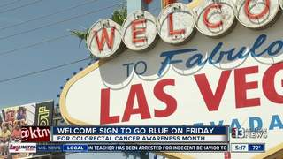 Welcome to Las Vegas sign going blue Friday