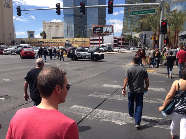 Gunman barricades himself in bus in Las Vegas