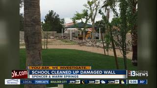 UPDATE: School cleans up damaged wall