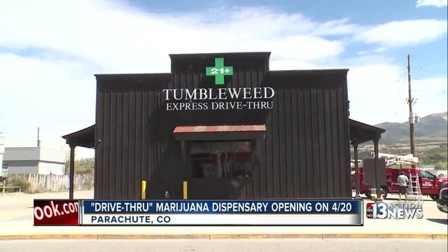 Drive-thru marijuana dispensary opening in Colorado on 4/20