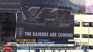 'The Raiders are coming' sign near stadium site