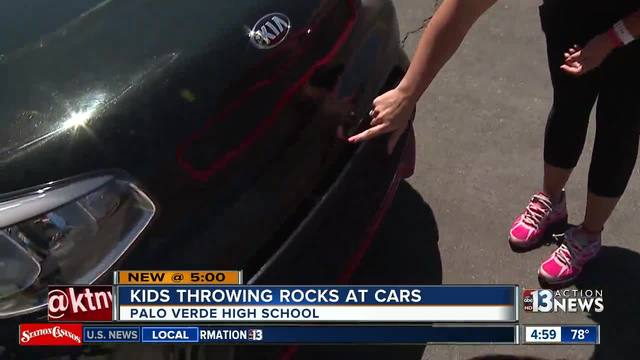 Cars damaged when kids throw rocks at Palo Verde