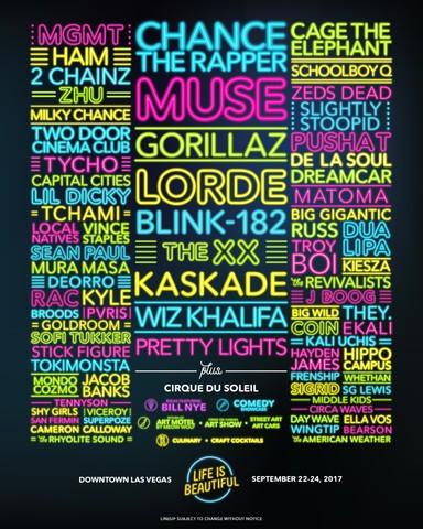 Gorillaz, The xx, Kaskade and Pretty Lights top Life is Beautiful 2017  lineupLife%20is%20Beautiful%202017%20Lineup 1493141455088 58841740 Ver1.0 640 480