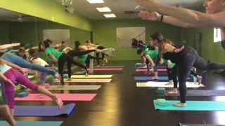 Girl Scouts practice yoga at Vegas Hot