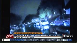 Man threw pickax at officer before shooting