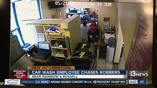 Car wash employee chases down armed robbers