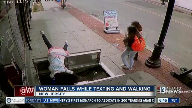 New Jersey woman, distracted by cell phone, falls through sidewalk access door