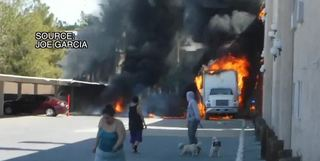 Fiery truck explosion caught on camera