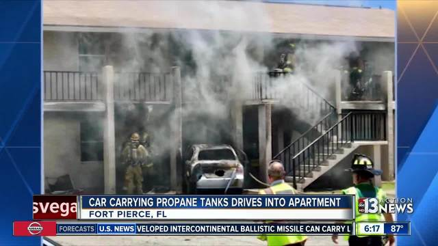 Florida man drives vehicle loaded with propane tanks into ex's apartment